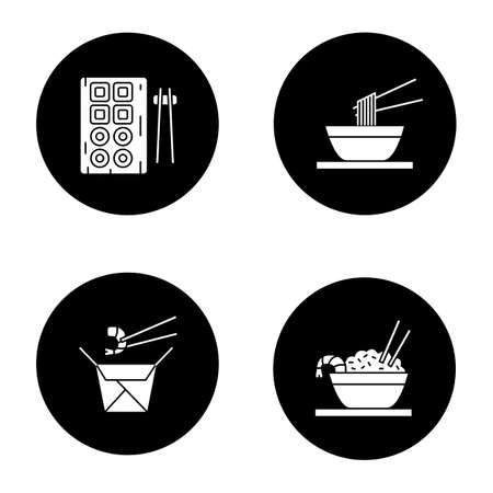 Chinese food glyph icons set. Sushi, noodles, ramen, fried rice and chopsticks.  white silhouettes illustrations in black circles