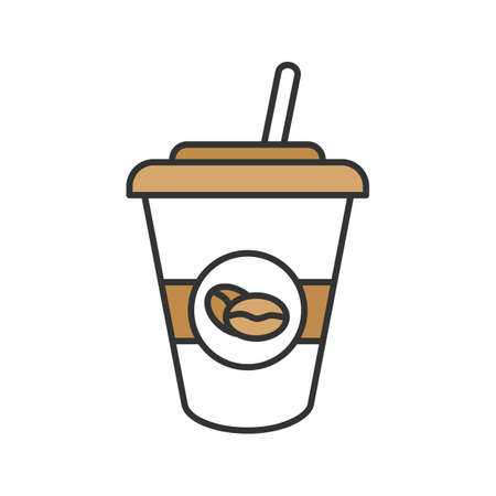 Eiskaffee trinken Farbikone. Einwegkaffeetasse mit Strohhalm. Vektorgrafik