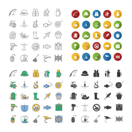 Fishing icons set. Angling equipment. Linear, flat design, color and glyph styles.