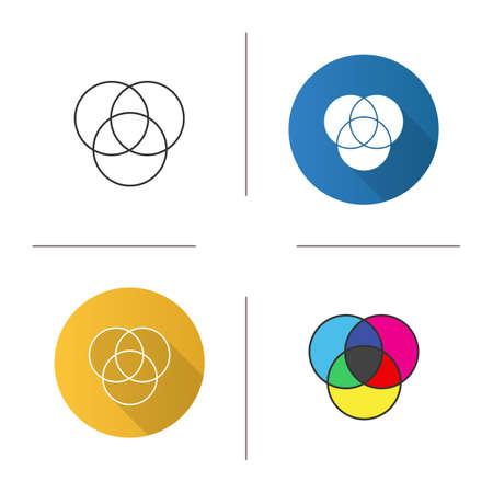Icona dei cerchi di colore CMYK o RGB. Diagramma di Venn. Cerchi sovrapposti. Design piatto, stili lineari e colorati.