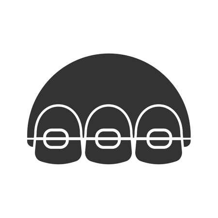 Tandheelkundige accolades glyph pictogram. Tanden uitlijnen. Silhouet symbool. Negatieve ruimte.