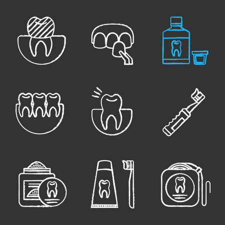Dentistry chalk icons set. Dental crown, veneer, mouthwash, healthy teeth, toothache, electric toothbrush, tooth powder, floss, dentifrice. Isolated vector chalkboard illustrations Ilustracja