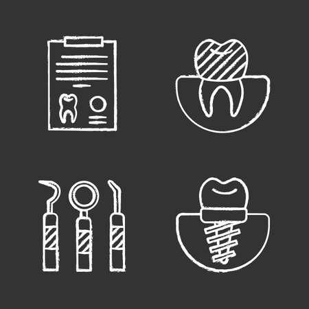 Dentistry chalk icons set. Stomatology. Diagnostic report, tooth implant and crown, dental instruments. Isolated vector chalkboard illustrations