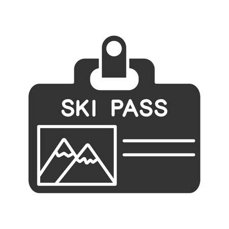 Ski pass badge glyph icon. Lift ticket. Silhouette symbol. Negative space.