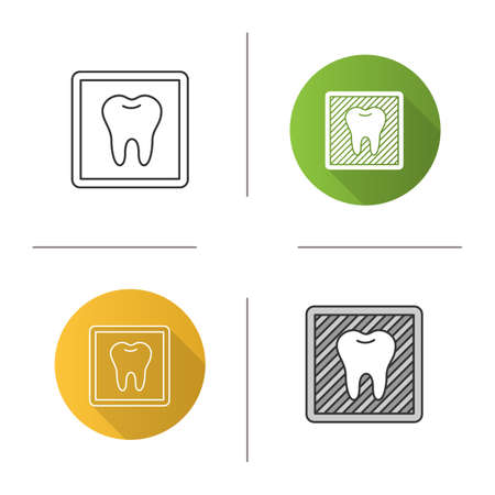 Dental X-ray icon. Radiographic image with tooth. Dental radiography. Flat design, linear and color styles. Vectores
