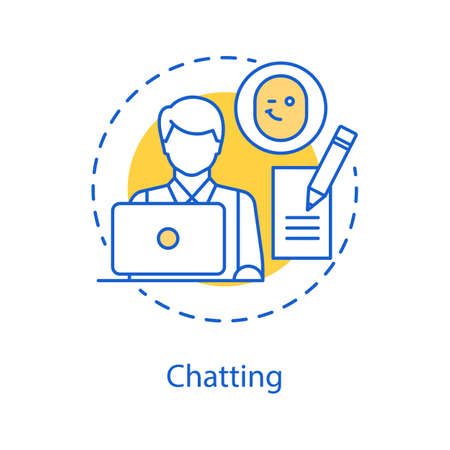 Chatting concept icon. Online communication idea thin line illustration. Typing message.