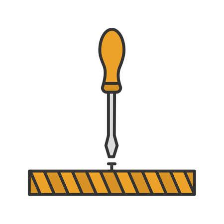 Screwdriver, turn screw color icon.