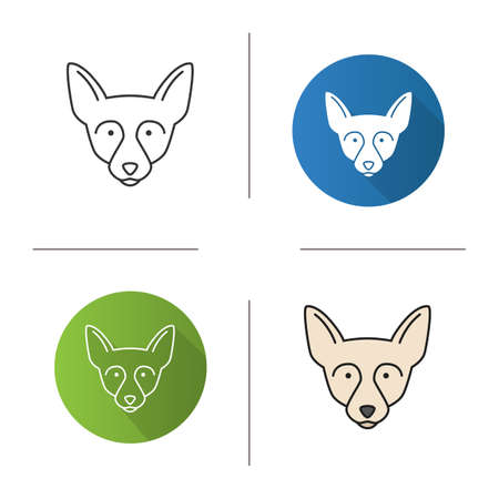 Chihuahua icon. Chi. Toy dog breed. Flat design, linear and color styles.