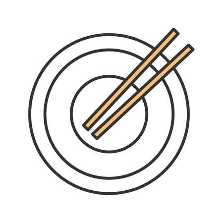 Chopsticks color icon. Sushi sticks. Isolated vector illustration Vektorové ilustrace