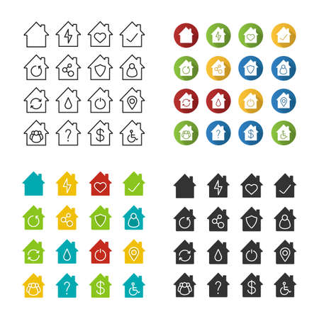 Inside house icons set. House, cottage, home, building. Real estate, property. Linear, flat design, color and glyph styles. isolated vector illustrations