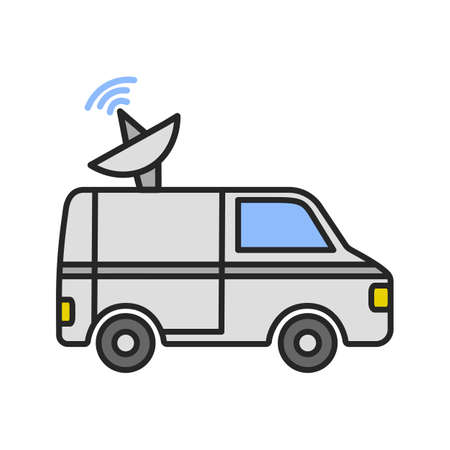 News van color icon. Satellite truck. Remote television broadcasting.
