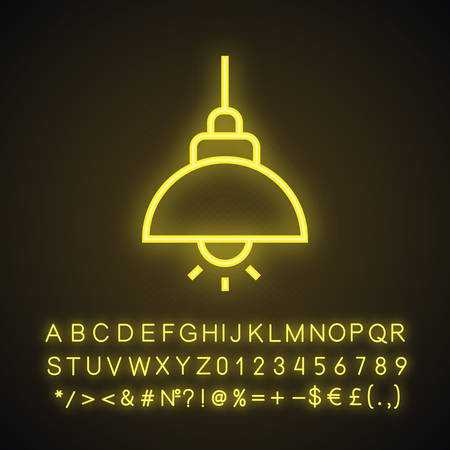 Ceiling lamp neon light icon. Glowing sign with alphabet, numbers and symbols. Vector isolated illustration  イラスト・ベクター素材