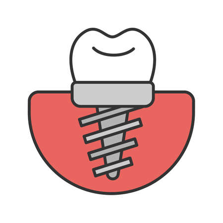 Dental implant color icon. Endosseous implant.