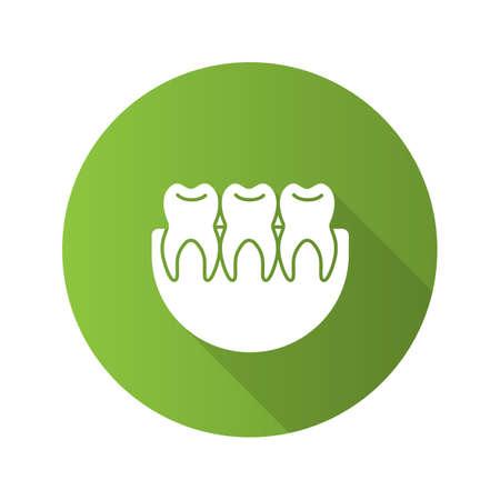 Healthy teeth flat design long shadow glyph icon. Dentition.