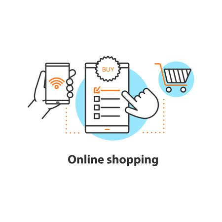 Icona di concetto di acquisto online. Illustrazione al tratto sottile dell'idea di acquisto digitale. Seleziona gli elementi. Disegno di assieme isolato vettoriale