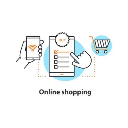 Icono del concepto de compras en línea. Ilustración de línea fina de idea de compra digital. Seleccionar articulos. Dibujo de contorno aislado del vector