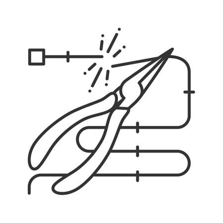 Pointed pliers cutting wire linear icon. Thin line illustration. Needle nose pliers. Contour symbol.