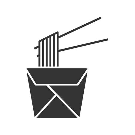 Chinese noodles in paper box and chopsticks glyph icon. Wok noodles. Silhouette symbol. Negative space. Çizim