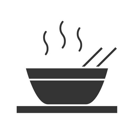 Hot chinese dish glyph icon. Soup, ramen, rice or noodles. Silhouette symbol. Negative space.