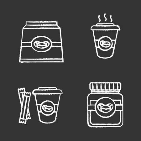 Coffee chalk icons set. Coffee paper pack, glass jar and hot drink with sugar. Isolated vector chalkboard illustrations Ilustracja