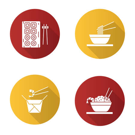 Chinese food flat design long shadow glyph icons set. Sushi, noodles, ramen, fried rice and chopsticks. Illustration