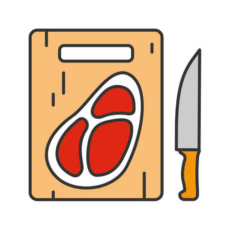 Steak on cutting board with knife color icon.