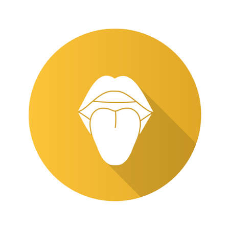 Open female mouth flat design long shadow glyph icon. Tongue. Oral cavity. Illustration