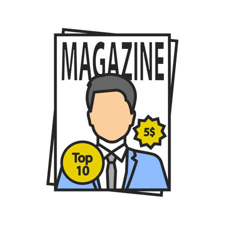 Magazine color icon. Tabloid. Periodical publication with celebrity photo. Isolated vector illustration