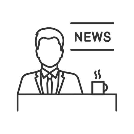 TV presenter linear icon. Newscaster. Thin line illustration. Morning news. Contour symbol. Vector isolated outline drawing