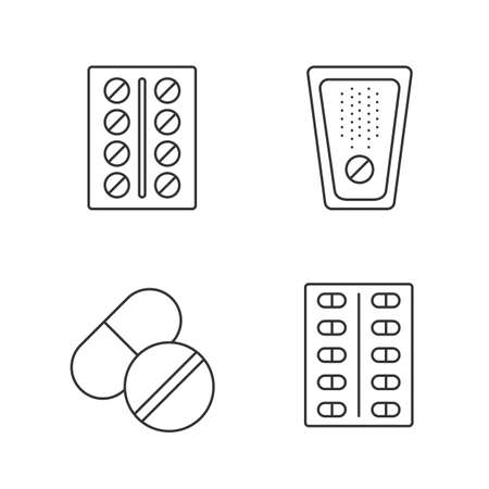 Pills linear icons set. Medications. Thin line contour symbols. Isolated vector outline illustrations