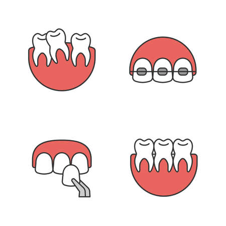 Dentistry color icons set. Stomatology. Crooked and healthy teeth, dental braces, veneer. Isolated vector illustrations