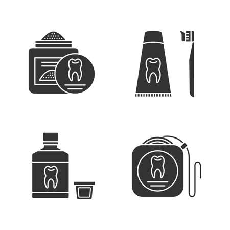 Dentistry glyph icons set. Stomatology. Tooth powder, dental floss, mouthwash, toothpaste and toothbrush. Silhouette symbols. Vector isolated illustration