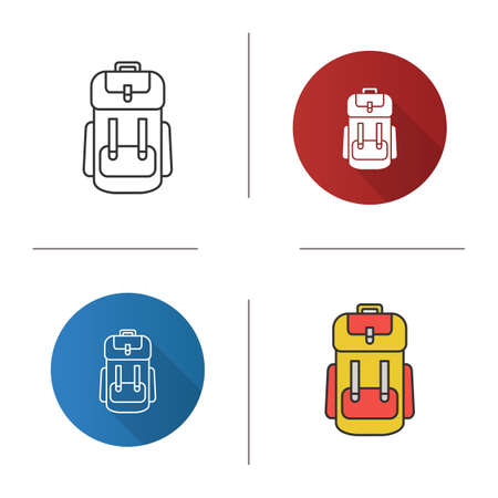 Camping backpack icon. Rucksack, knapsack. Flat design, linear and color styles. Isolated vector illustrations