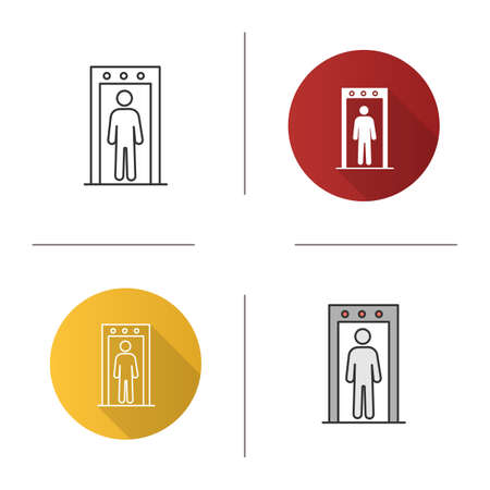 Metal detector portal icon. Airport security scanner with person inside. Flat design, linear and color styles. Isolated vector illustrations