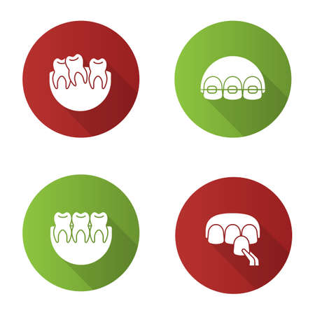 Dentistry flat design long shadow glyph icons set. Stomatology. Crooked and healthy teeth, dental braces, veneer. Vector silhouette illustration