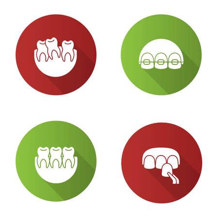 Tandheelkunde platte ontwerp lange schaduw glyph pictogrammen instellen. Stomatologie. Scheve en gezonde tanden, beugels, fineer. Vector silhouet illustratie