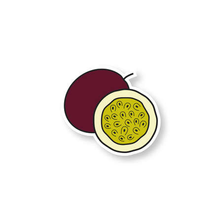 Passionfruit patch. Color sticker. Vector isolated illustration Ilustracja