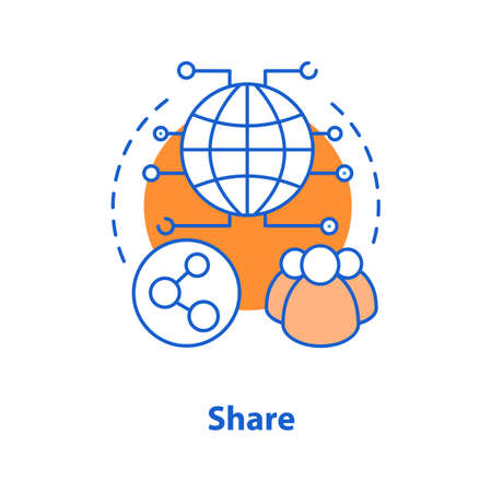 Content sharing concept icon. Social networks idea thin line illustration. Vector isolated outline drawing Ilustração