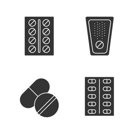 Pills glyph icons set. Medications. Silhouette symbols. Vector isolated illustration Иллюстрация