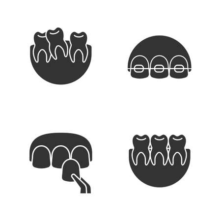 Dentistry glyph icons set. Stomatology. Crooked and healthy teeth, dental braces, veneer. Silhouette symbols. Vector isolated illustration