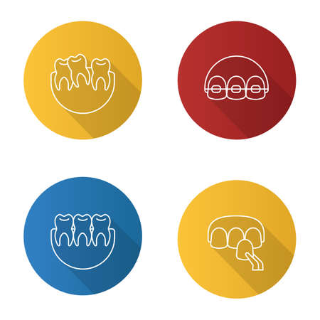 Dentistry flat linear long shadow icons set. Stomatology. Crooked and healthy teeth, dental braces, veneer. Vector outline illustration Stock Illustratie