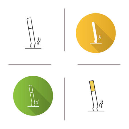 Stubbed out cigarette icon. Stop smoking. Flat design, linear and color styles. Isolated vector illustrations