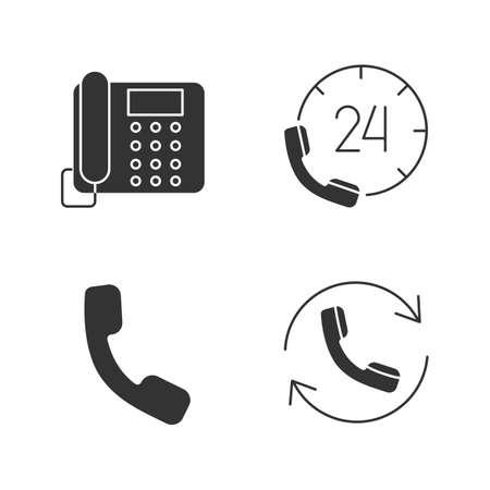 Phone communication glyph icons set. Landline telephone, hotline, handset, calling. Silhouette symbols. Vector isolated illustration