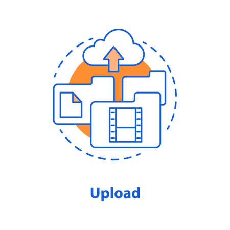 Upload new files concept icon. Digital data storage idea thin line illustration. Vector isolated outline drawing