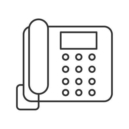 Icono lineal de teléfono fijo. Ilustración de línea fina. Teléfono de oficina. Símbolo de contorno. Dibujo de contorno aislado del vector