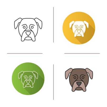 Boxer icon. Guardian dog breed. Flat design, linear and color styles. Isolated vector illustrations Vettoriali