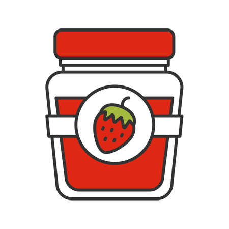 Strawberry jam jar color icon. Fruit preserve. Isolated vector illustration