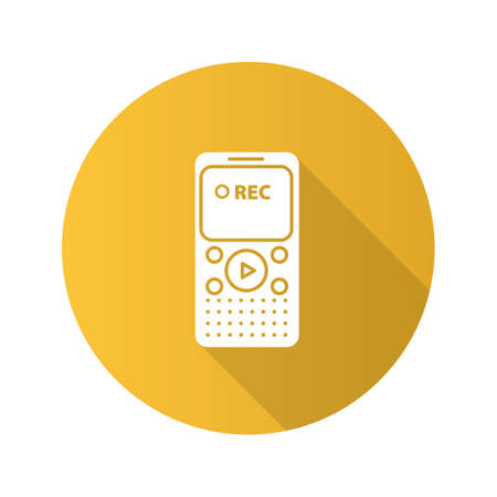Dictaphone flat design long shadow glyph icon. Portable audio recorder. Vector silhouette illustration Illustration