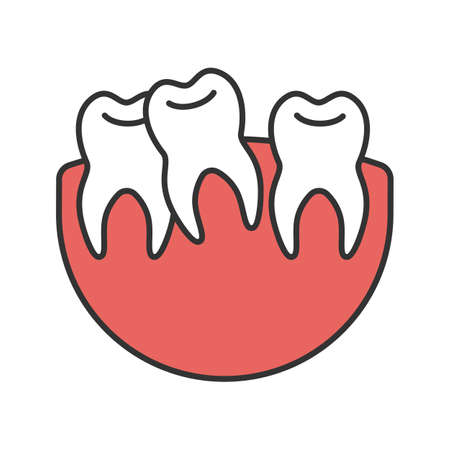 Crooked teeth color icon. Malocclusion. Wisdom tooth problem. Isolated vector illustration