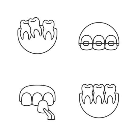 Dentistry linear icons set. Stomatology. Crooked and healthy teeth, dental braces, veneer. Thin line contour symbols. Isolated vector outline illustrations